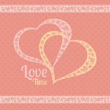 Vector greeting card with polka dots and hearts. Royalty Free Stock Image