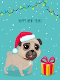 Vector color illustration of christmas dog. Christmas card. Cute pug in Santa`s hat. Symbol of 2018. Vector greeting card with pug, gift box, text Happy New Stock Illustration