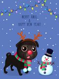Vector color illustration of christmas dog and snowman. Christmas greeting card with black pug. Symbol of new year 2018. Vector greeting card with pug, snowman Stock Illustration