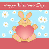 Vector greeting card with rabbit Stock Photo