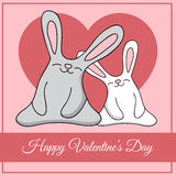 Vector greeting card with rabbits Stock Image