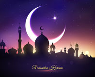 Vector greeting card for Ramadan Kareem holiday. Ramadan Kareem or Ramazan Mubarak greeting card with mosque minarets, crescent moon and twinkling star in blue