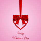 Vector greeting card with red bow and heart. Template for Valentine`s day. Stock Image