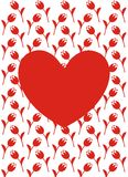 Vector greeting card with red heart, red flowers and white background Royalty Free Stock Photos