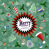 Vector greeting card in retro style. Holiday explosion of fun, gifts, candy, Santa Claus caps. Poster Merry Christmas Royalty Free Stock Image