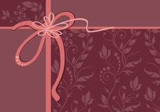 Vector greeting card with ribbon and ornament Royalty Free Stock Photo