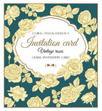 Vector greeting card with roses in vintage style Stock Photography