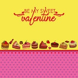 Vector greeting card for Saint Valentine`s Day. Be my sweet Valentine! Perfect for printing on paper Royalty Free Stock Image
