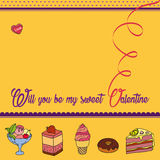 Vector greeting card for Saint Valentine`s Day. Will you be my sweet Valentine? Perfect for printing on paper Royalty Free Stock Photos