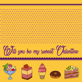 Vector greeting card for Saint Valentine`s Day. Will you be my sweet Valentine? Perfect for printing on paper Stock Images