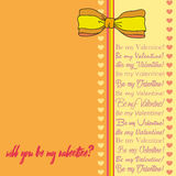 Vector greeting card for Saint Valentine`s Day. Will you be my sweet Valentine? Perfect for printing on paper Stock Photos
