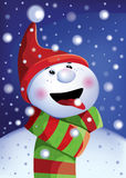 Vector greeting card with a snowman wearing a hat and scarf. Stock Images