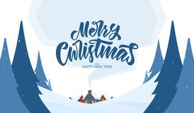 Vector greeting card. Snowy landscape background with hand lettering of Merry Christmas and cartoon houses royalty free illustration