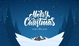 Vector greeting card. Snowy landscape background with hand lettering of Merry Christmas, night village and pines. Vector greeting card. Snowy landscape stock illustration