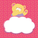 Vector greeting card with teddy bear. Kiss, love Royalty Free Stock Photos