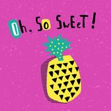 Pineapple. Vector greeting card template, simple pineapple on bright pink background royalty free illustration
