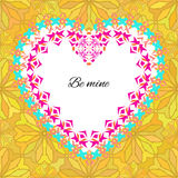 Vector greeting card template to valentine`s day. Congratulation`s backgrounds with romantic pattern, heart, text and ethnic decor. Ative frame. Be mine stock illustration