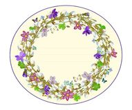 Congratulatory spring wreath with willow twigs and violets. Vector illustration. Vector greeting card template with wreath of spring willow branches and violets Royalty Free Stock Photos