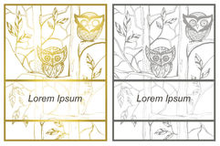 Vector greeting card templates, invitation with a picture of owl Stock Photos