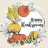 Vector greeting card for Thanksgiving. Wreath with vegetables and leaves. Hand drawn vintage style. Royalty Free Stock Images