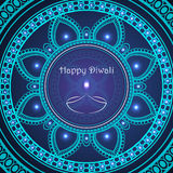 Vector greeting card to indian festival of lights. Happy Diwali. Congratulations background with text and mandalas patterns Stock Images