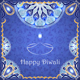 Vector greeting card to indian festival of lights. Happy Diwali. Congratulations background with text and mandalas patterns Stock Photos