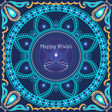 Vector greeting card to indian festival of lights. Happy Diwali. Congratulations background with text and mandalas patterns Stock Photography