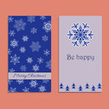 Vector greeting card to Xmas. Merry Christmas. Cute congratulation`s backgrounds. With snowflakes, trees and text. Be happy Stock Photo