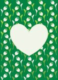 Vector greeting card with white heart, white flowers and green background Royalty Free Stock Image