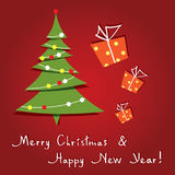 Vector Greeting Card With Christmas Tree Royalty Free Stock Photos