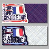 Vector greeting cards for Bastille Day. In France, invitation tickets for patriotic holiday of france with date 14th july, original brush typeface for words Stock Photo