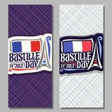 Vector greeting cards for Bastille Day. In France, vertical banners for patriotic holiday of france with abstract eiffel tower, original brush typeface for Royalty Free Stock Photography