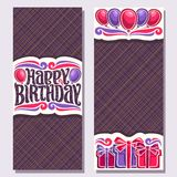Vector greeting cards for Birthday Holiday. Vertical double sided invitations with colorful gift boxes and balloons for anniversary holiday, original brush Stock Photos