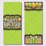 Vector greeting cards for Birthday Holiday. Vertical double sided invitations with colorful gift boxes and balloons for anniversary holiday, original brush Royalty Free Stock Photo