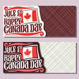Vector greeting cards for Canada Day. Invitation tickets with date of united - july 1st, national flag of canada with red maple leaf and original brush Stock Images
