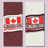 Vector greeting cards for Canada Day. Vertical banners with national flag of canada with red maple leaf and original handwritten brush typeface for words Royalty Free Stock Photo