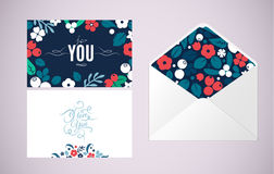 Vector greeting cards and envelope with folk art flowers Royalty Free Stock Image
