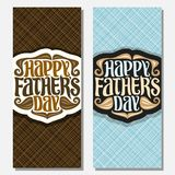 Vector greeting cards for Fathers Day. Holiday, vertical banners with curls of hair, funny curly mustache and goatee beard, original hipster typeface for words Stock Photos