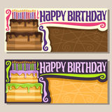 Vector greeting Cards for Happy Birthday event Stock Photos