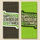 Vector greeting cards for Saint Patricks Day. Vertical banners with original typeface for text happy st. patrick`s day 17 march, leaves of spring shamrock for Stock Photos