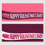 Cards for St. Valentine`s Day. Vector greeting cards for St. Valentine`s Day with copy space, 2 banners with pink hearts pierced arrow, original handwritten font Royalty Free Stock Photo