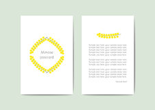 Vector greeting cards template with yellow flowers, 10x15 cm, redy for print Royalty Free Stock Photography