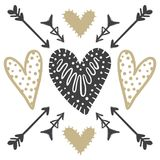 Vector greeting cards on Valentine`s Day. Flowers, hearts, love. Doodle illustrations. Cute design. Hand drawn art Stock Images