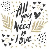 Vector greeting cards on Valentine`s Day. Flowers, hearts, love. Doodle illustrations. Cute design. Hand drawn art. All you need is love Stock Photos