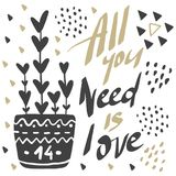 Vector greeting cards on Valentine`s Day. Flowers, hearts, love. Doodle illustrations. Cute design. Hand drawn art. All you need is love Royalty Free Stock Photos
