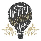 Vector greeting cards on Valentine`s Day. Flowers, hearts, love. Doodle illustrations. Cute design. Hand drawn art Stock Photography