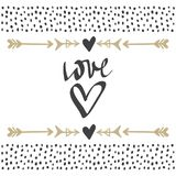 Vector greeting cards on Valentine`s Day. Hearts, love, arrows. Doodle illustrations. Cute design. Hand drawn art Stock Photo