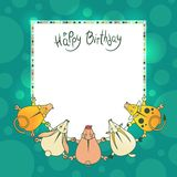 Vector greeting children card with wishes for a happy birthday. Invitation flyer for the holiday. Cute animals dance in a circle frame of colorful glowing Stock Photography