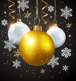 White and golden decorations on a black background. Stock Images