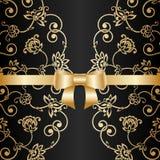 Vector greeting or invitation card. Vector greeting or invitation card with vintage lace floral pattern and bow ribbon Royalty Free Stock Photos